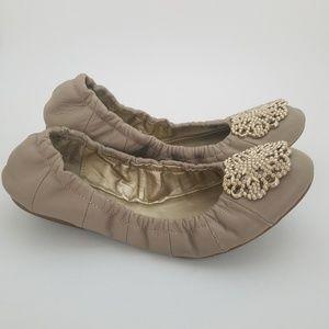 Tahari Leather Medallion Ballet Flats